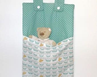 Green with little paper boats Pajama bag