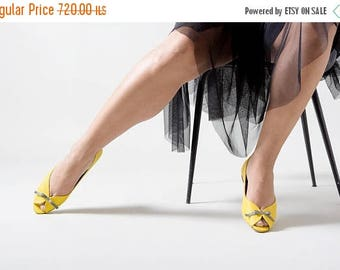 Yellow flats, Yellow wedding shoes, Yellow shoes, Wedding shoes, Peep toe, Party shoes, Peep toe flats, bridesmaid shoes