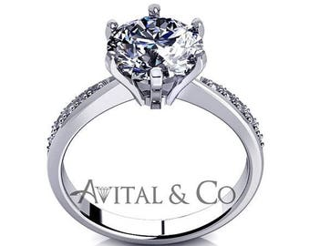 ON SALE D/Vvs1 Diamond Engagement Ring 1.00 Carat Round Cut 14k White/Yellow Gold Bridal Jewelry