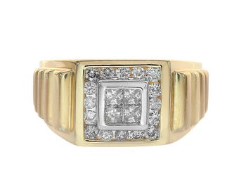 0.75 Carat Round And Princess Cut Channel Setting Diamonds Mens Ring 14K Yellow Gold