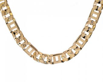 """Mens 10K Yellow Gold Square Tigereye Chain 24"""" Inches 102.3 Grams"""