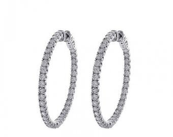 ON SALE 3.00 Carat Micro Pave Hoop Earrings 14K White Gold