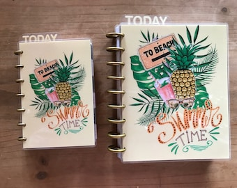 Summer, tropical happy planner covers. Beach, pineapple, girl, floral theme. Cover available for mini and classic happy planner.