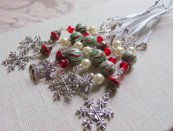 Holiday - Snowflake Christmas decoration - tree ornaments - red candy cane green polymer clay - beaded accents -  Santa hat - boot - angel