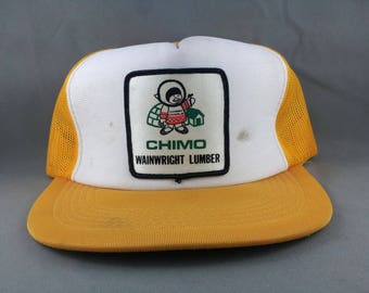 Vintage Trucker Hat - Chimo Lumber Canada - Crazy Cool Eskimo Graphic - Adult Snapback