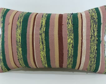 12x20 Striped Kilim Pillow Fllor Pillow Handwoven Kilim Pillow 12x20 Lumbar Kilim Pillow Turkish Kilim Pillow Cushion Cover SP3050-1511