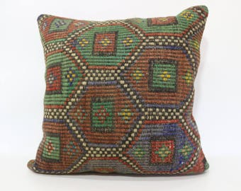 Embroidered Kilim Pillow Decorative Kilim Pillow Boho Pillow 24x24 Handwoven Kilim Pillow Sofa Pillow Cushion Cover SP6060-1282