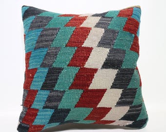 20x20 Multicolour Pillow Turkish Geometric Kilim Pillow Sofa pillow Floor Pillow Antique Pillow Kilim Cushion Case home decor SP5050-2435