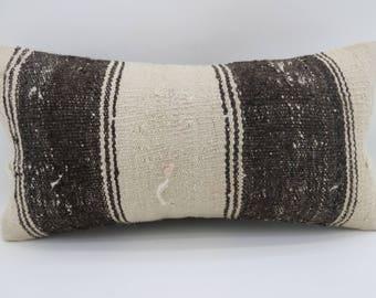 10x20 brown and white kilim pillow striped kilim pillow lumbar pillow home decor decorative kilim pillow ethnic pillow SP2550-1533