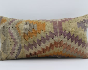 12x24 Kilim Pillow Cover Multicolor Kilim Pillow Geometric Pillow 12x24 Embroidery Pillow Striped Kilim Pillow  Cushion Cover SP3060-1684