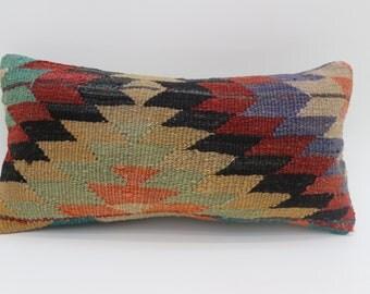10x20 Geometric Kilim Pillow Embroidered kilimPillow Multicolored Pillow Sofa Pillow Throw Pillow Bohemian Pillows 10x20 Pillow  SP2550-1754