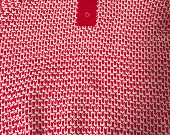 Vintage Women's McGregor Collared Short Sleeve Sweater Red and White Size Large