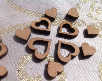 Little Wood Love Hearts Table Mix of 200 Wedding Decoration Confetti