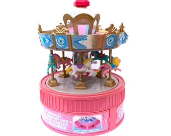 Vintage 1997 Carousel Moose Mountain Toymakers Wind Up Musical Jewelry Box M.M.T.M Large Music Box Ponies Horses Fairy Kei Kawaii 90s Toys