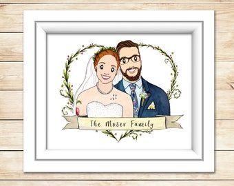 Family Portrait Christmas Gift Custom Family Portrait Family Illustration Wedding Gift Anniversary Present Original Watercolor Portrait