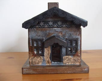 Grandma Wolf's Cottage- Paper Mache Miniature Cottage