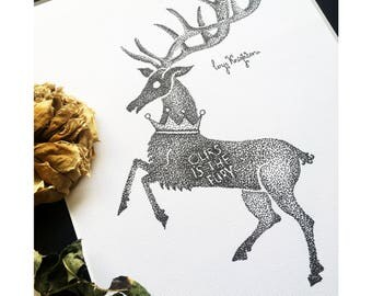 Game of Thrones Baratheon Stag Dotwork Sigil Drawing - Art Print of A Song of Ice and Fire Stag Illustration, Traditional Art