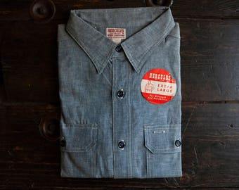 VIntage 1940's/1950's Hercules 100% Cotton Chambray Work Shirt NEW With Tags Deadstock Triple Stitched Workwear XL size 18