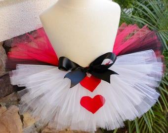 Queen of Hearts Tutu, Wonderland Tutu, Alice in Wonderland Tutu, Red and White Tutu, Halloween Costume Tutu