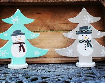 Christmas Trees, Large Trees, Snowman decor, Snowmen, Winter Trees, Blue Chrsitmas, Table Trees, white snowflakes, Gray tree, Aqua tree