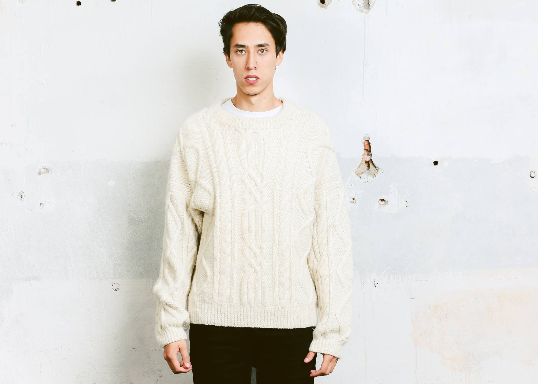 70s Hand Knit Sweater . Vintage Chunky Knit Men Aran Sweater Cable ...