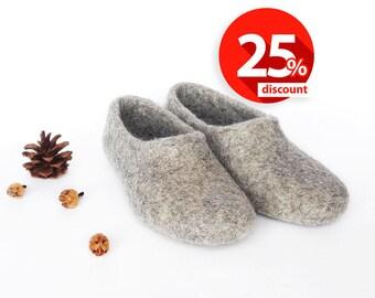 Gray Slippers Handmade wool slippers house shoes Unisex wool felt slippers warm adult Custom slippers Felted wool slippers