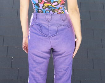 Vintage 1970's Flared Western Style Purple Denim Pants