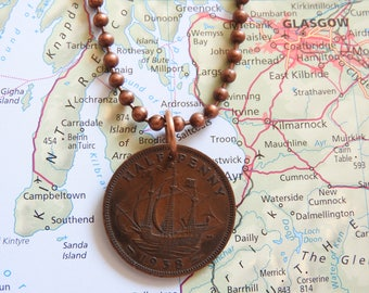 Great Britain 1938/1944/1947/1950/1953/1954/1958 ship coin necklace - birth year - birthday present - nautica
