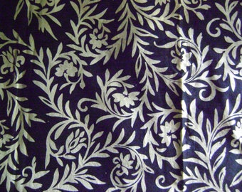 Vintage Furoshiki Fabric/White Floral Motifs on an Dark Indigo Background/Table Cloth, Wall Hangings, Craft Supplies