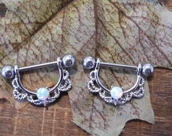 Opal nipple rings  with jewel and fancy metal work patten 14 guage, fancy nipple rings, nipple sheilds, nipple jewelry, pretty nipple