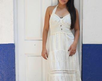 Halter Manta Mexican Maxi Dress