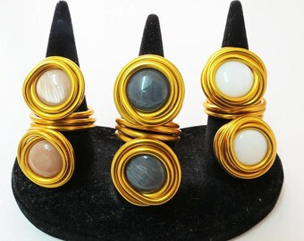 Gold Statement Jewelry, Gold Statement Ring, Big Ring, Adjustable Ring, Gold Wire Ring, Fashion Ring, Unique Ring, Wrapped Stone Ring, Gold