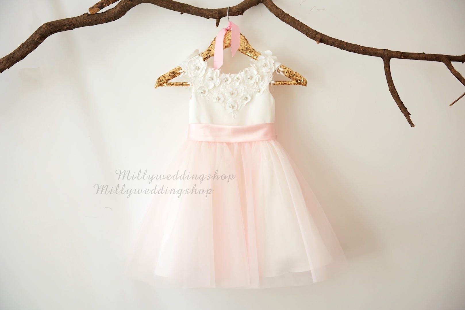 Light Gray Bridesmaid Dresses Knee Length Soft Tulle: Ivory Satin Beaded Lace Light Pink Tulle Flower Girl Dress