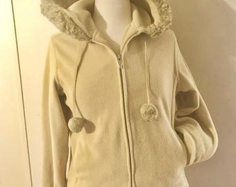 Vintage flannel Hoody by Catalina Size Small faux fur