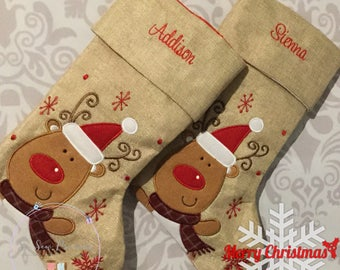 Personalised Christmas Stocking, Deluxe Hessian Reindeer Any Name, Personalized Christmas Gift