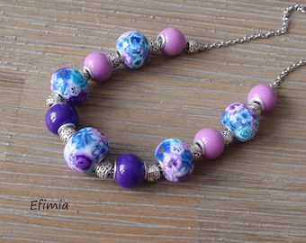 Necklace short colors Blue, purple and lilac, decorated with flowers and butterflies transparent polymer clay