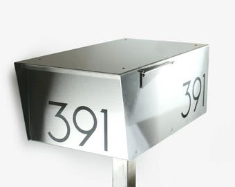Wide Minimalist all stainless -modern mailbox - post mounted - post mount