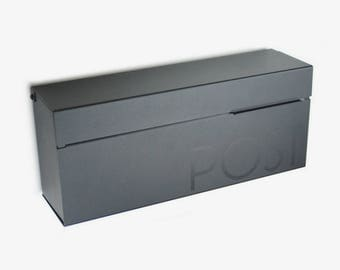 """Black Wide 17"""" Modern and contemporary mailbox, Modern Mailbox, Wall Mounted mailbox - contemporary #177B"""