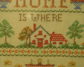 "Vintage cross stitch sampler with ""home"" verse"