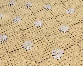 Handmade vintage crochet blanket granny square Huge blanket / 60s / 70s