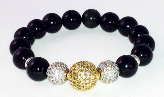 Genuine Black Obsidian Energy Bracelet with Gold and Silver, Gemstone Protection and Healing bracelet, Micro Pave, CZ, mens or womens gift