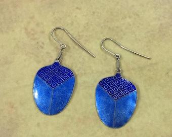 Scarab Earrings Sterling Silver Enamel Scarab Jewelry Scarab Beetle Drop Earrings Insect Earrings Ancient Egyptian Jewelry Blue Earrings