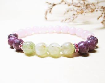 Pink Tourmaline Bracelet Prehnite Bracelet Rose Quartz Bracelet Gemstone Bracelet Mala Bracelet Love Bracelet Heart Chakra Bracelet