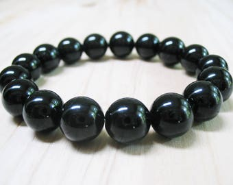 Black Onyx Bracelet Mens Bracelet Gemstone Bracelet Beaded Bracelet Protection Bracelet Power Bracelet Mala Bracelet 10mm Black Onyx