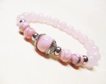 Rhodochrosite Pink Opal Rose Quartz Bracelet Fertility Bracelet Heart Chakra Bracelet Calming Bracelet Healing Bracelet Balance Bracelet
