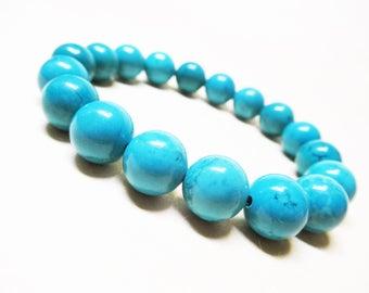 Turquoise Bracelet Turquoise Jewelry 10mm Turquoise Throat Chakra Bracelet Mens Bracelet Thyroid Bracelet Balance Bracelet Unisex Bracelet
