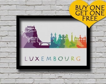 Cross Stitch Pattern Luxembourg City Silhouette Watercolor Effect Europe Cities Modern Design Embroidery City Skyline Xstitch