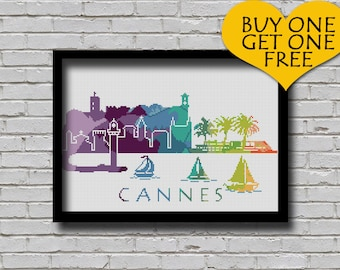 Cross Stitch Pattern Cannes France Europe City Silhouette Watercolor Effect Decor Embroidery Rainbow Color Skyline xstitch Diy Chart