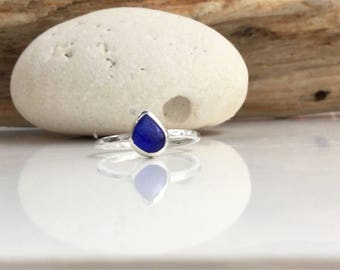 Cobalt Blue Seaglass Ring, Blue Seaglass Ring, Blue Ring, Silver Ring, Stacking Ring, Sea Glass Jewelry