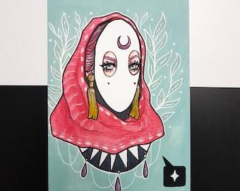 Conceal | wall art, art print, gouache painting, mask illustration, tribal art, headscarf, fantasy art, illustration, fantasy art, painting